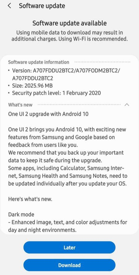 Samsung Galaxy A70s Android 10 Update One UI 2.0