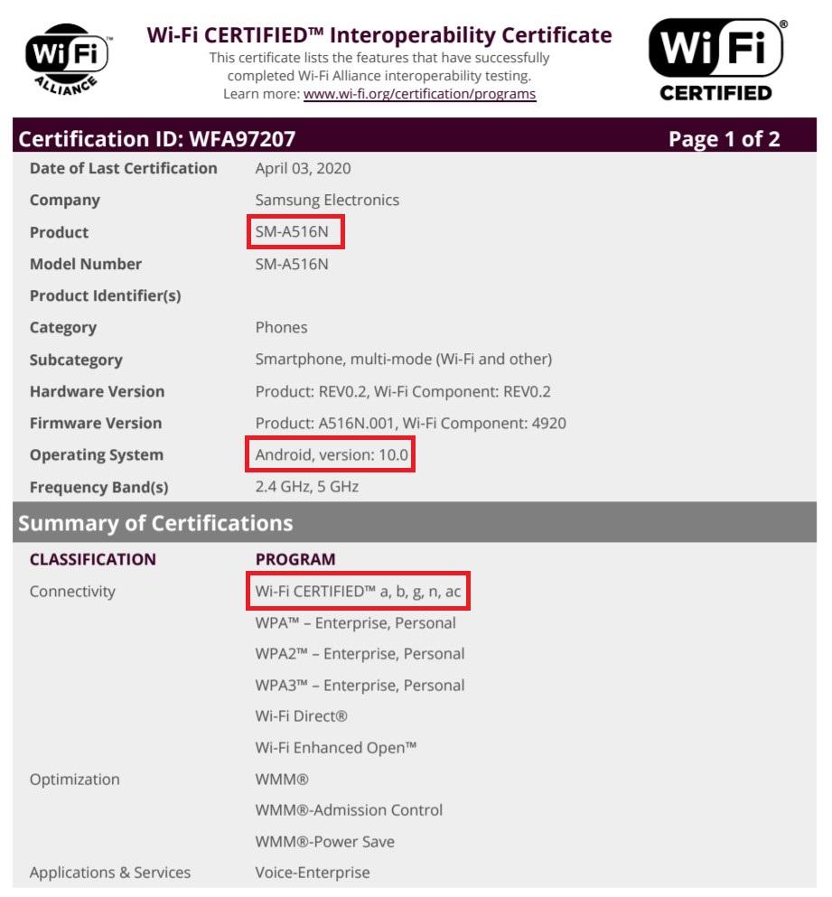 Samsung Galaxy A51 5G Wi-Fi Alliance Certification