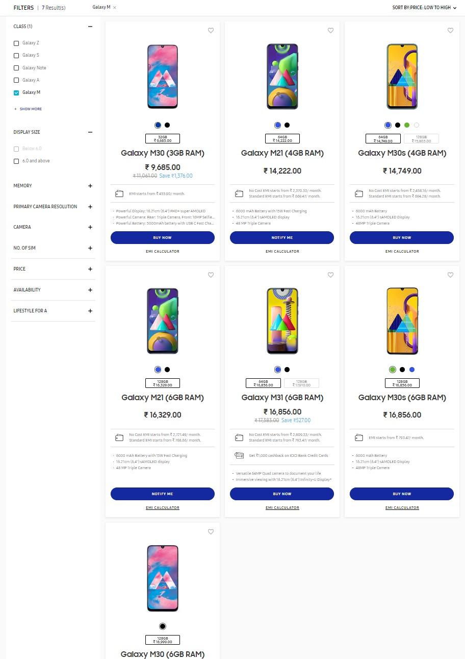 Samsung Galaxy M10, M10s, M20 Discontinuation India