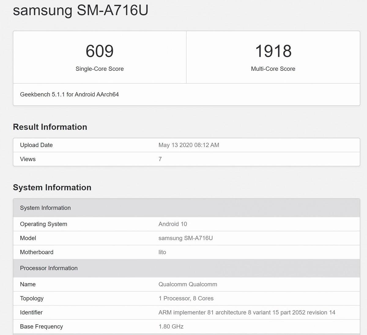 Samsung Galaxy A71 5G (SM-A716U) Geekbench