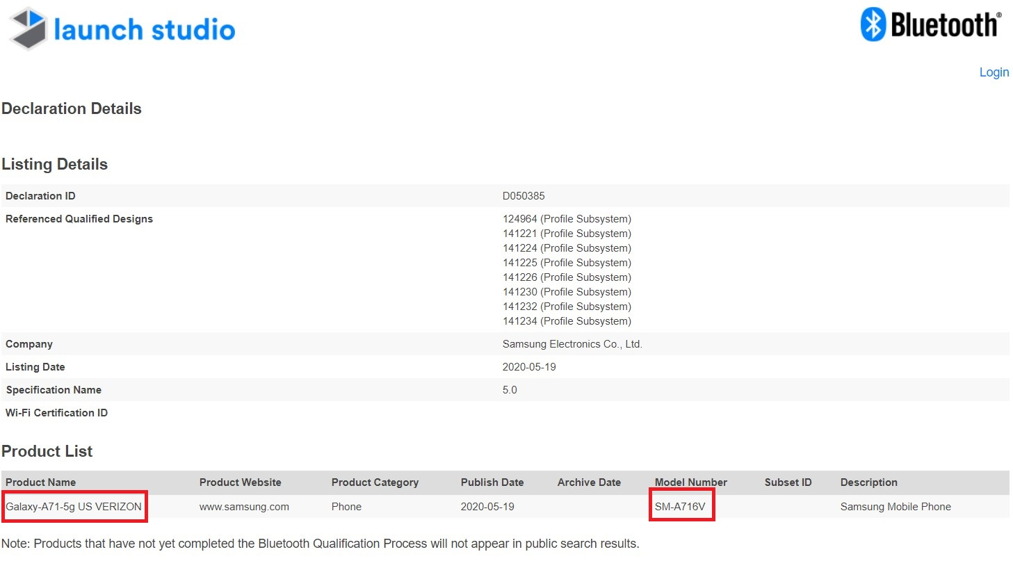 Samsung Galaxy A71 5G Verizon Bluetooth SIG Certification