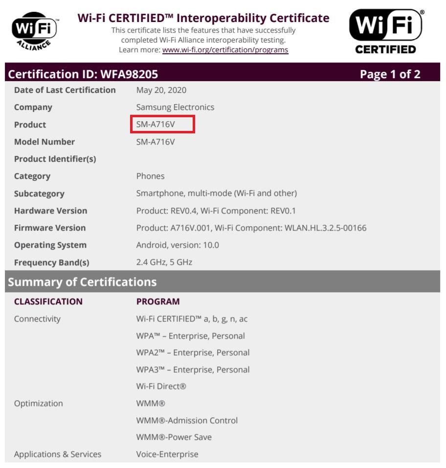 Samsung Galaxy A71 5G Verizon Wi-Fi Alliance Certification