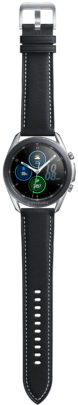 Samsung Galaxy Watch 3 Stainless Steel Black Stitched Leather Band
