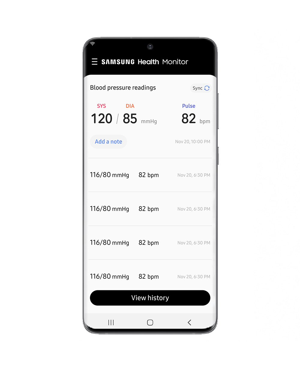 Samsung Health App Blood Pressure Measurement History