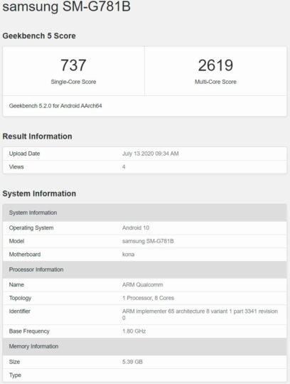 Galaxy S20 Fan Edition Snapdragon 865