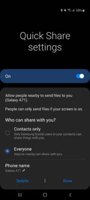 Samsung Galaxy A71 One UI 2.1 Update Quick Share