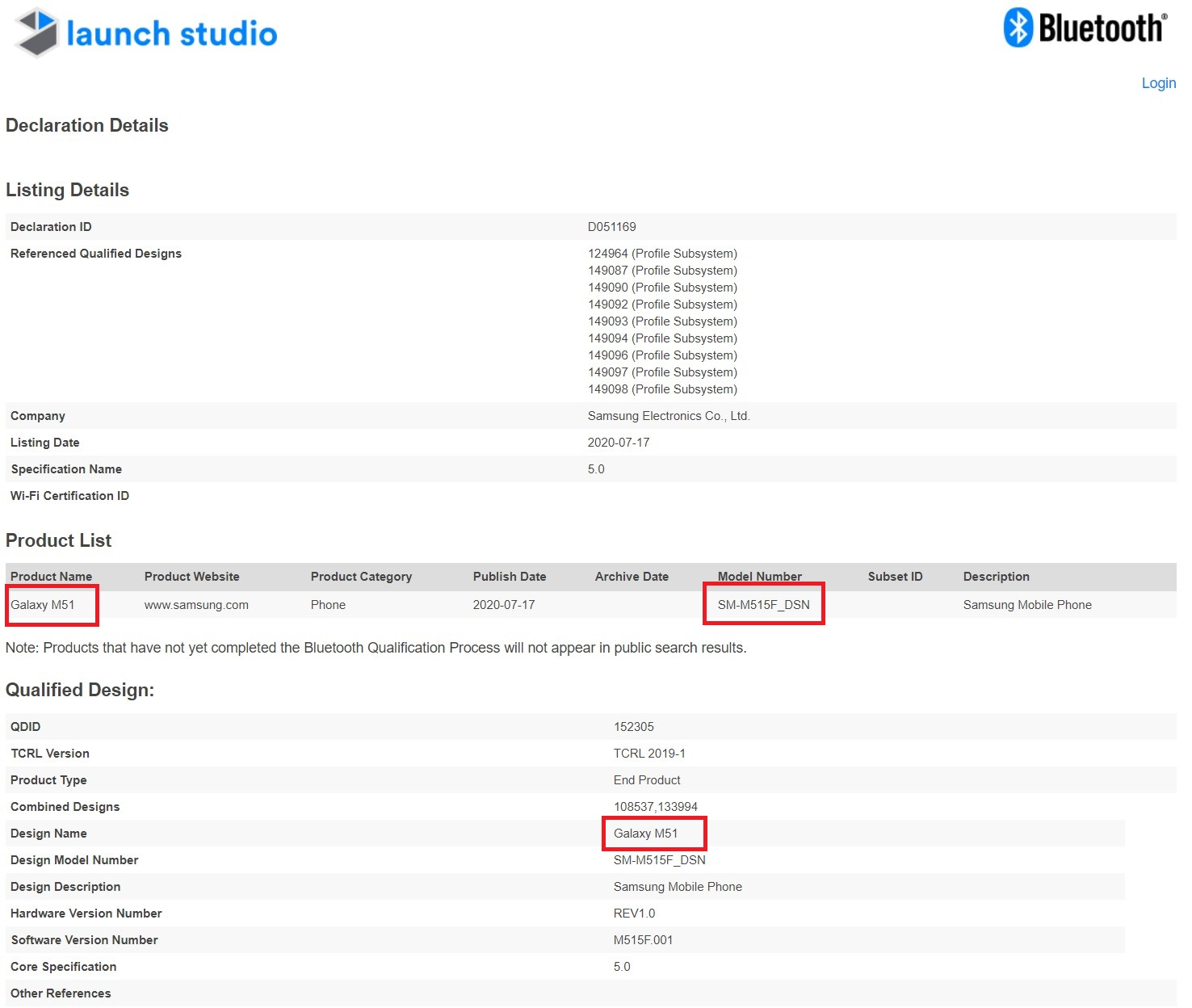 Samsung Galaxy M51 SM-M515F Bluetooth SIG Certification