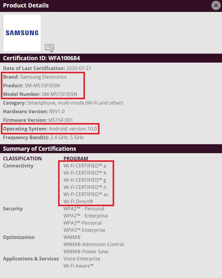 Samsung Galaxy M51 Wi-Fi Certification