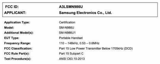 Samsung Galaxy Note 20 Ultra SM-N986U SM-N986U1 FCC Certification