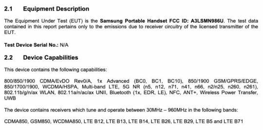 Samsung Galaxy Note 20 Ultra SM-N986U SM-N986U1 FCC Certification Connectivity Features