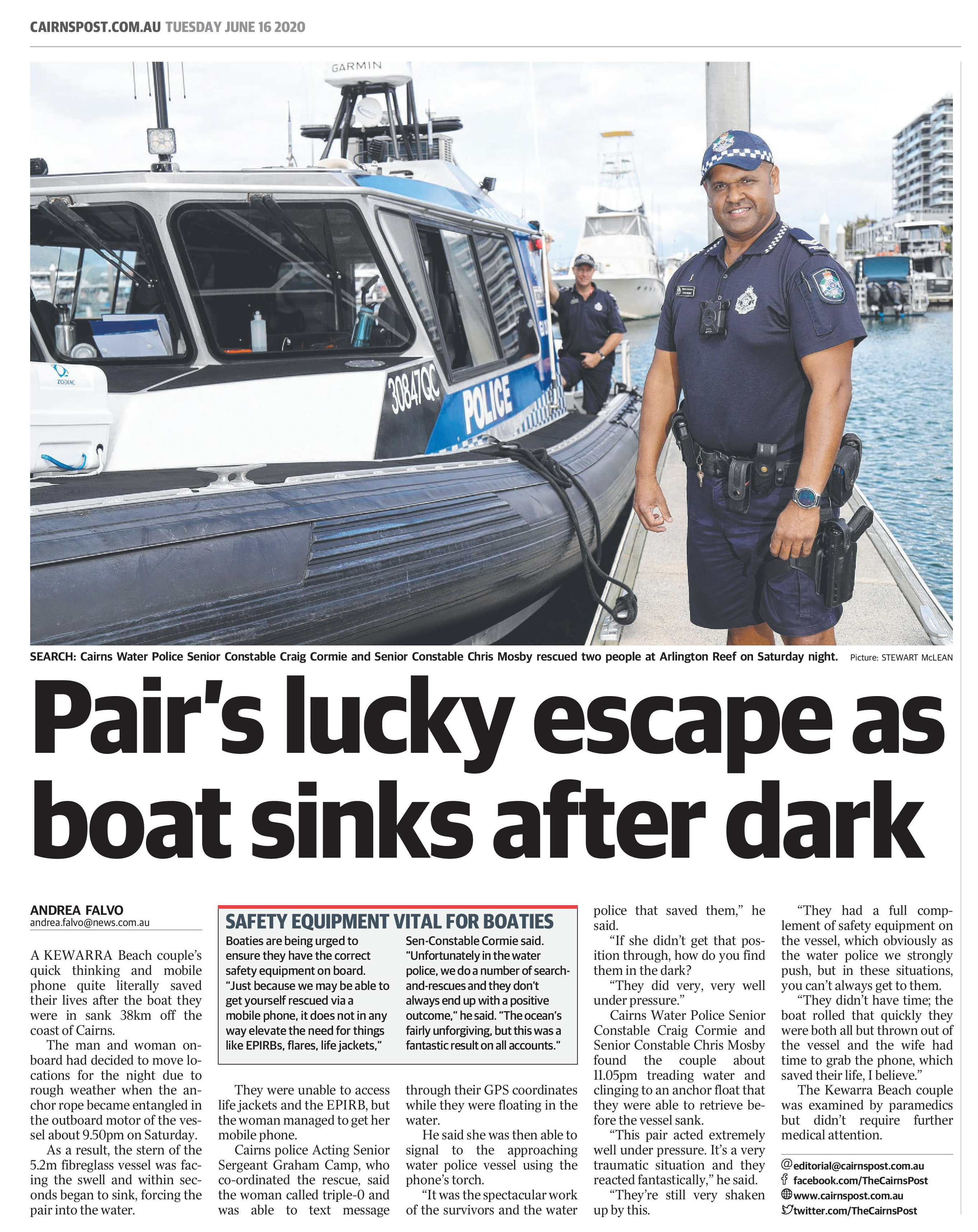 Samsung Galaxy S10 Australian Couple Rescue Great Barrier Reef Newspaper Clipping
