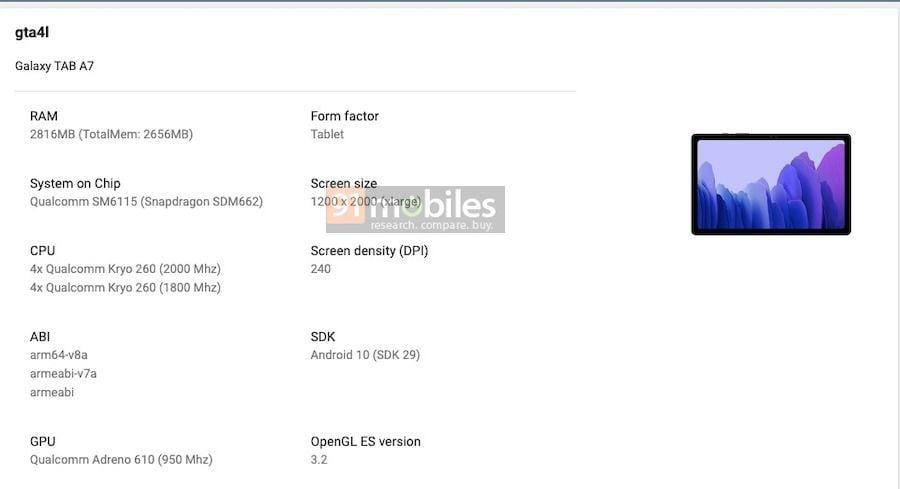 Samsung Galaxy Tab A7 2020 Google Play Console