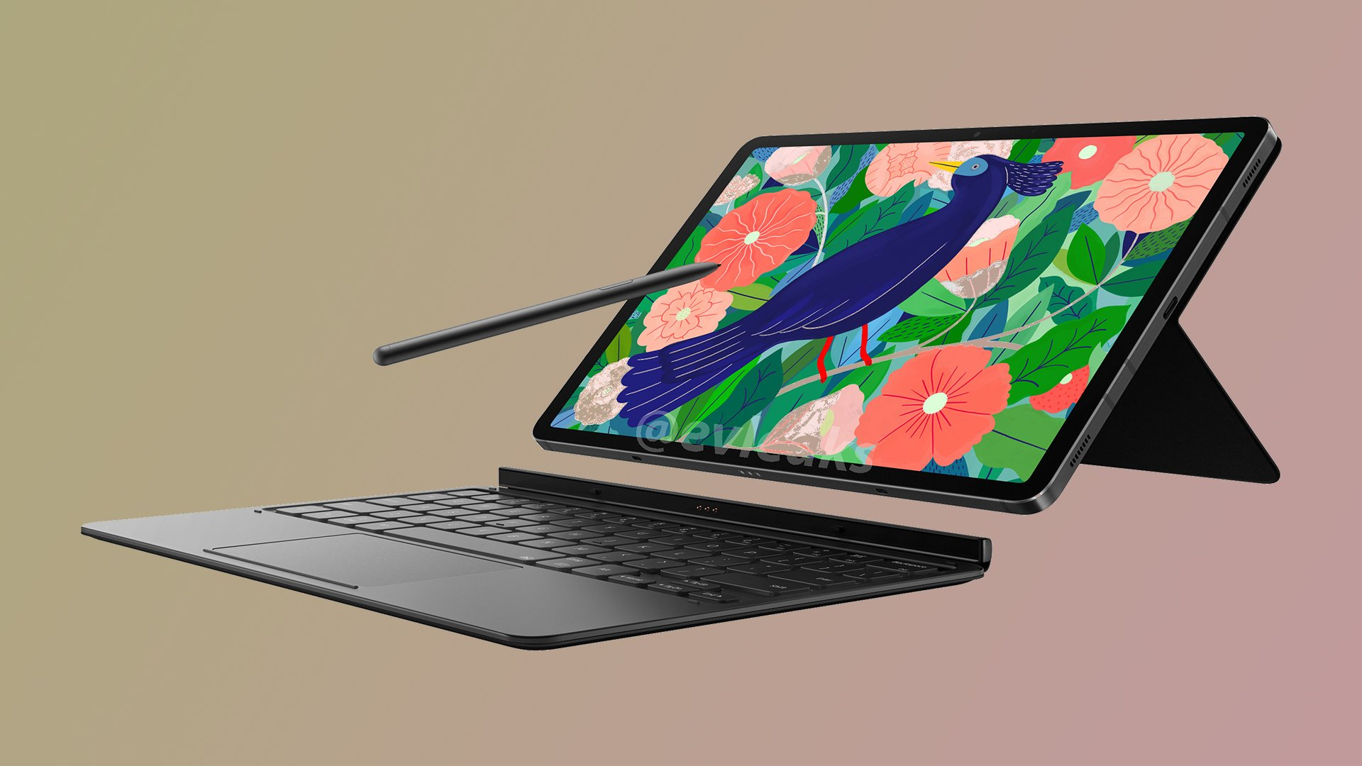 Samsung Galaxy Tab S7 With S Pen And Keyboard Cover Press Render