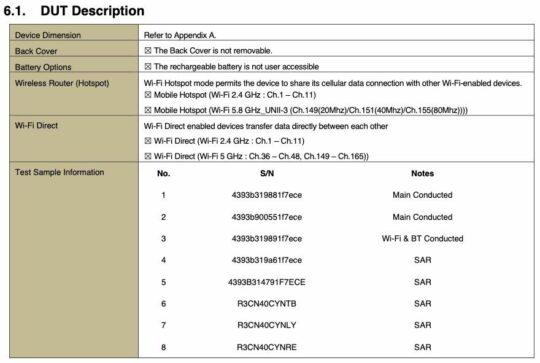 Samsung Galaxy Z Flip 5G FCC Wi-Fi SAR
