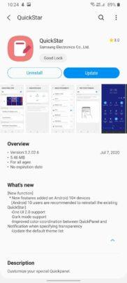Samsung Good Lock QuickStar Update July 2020