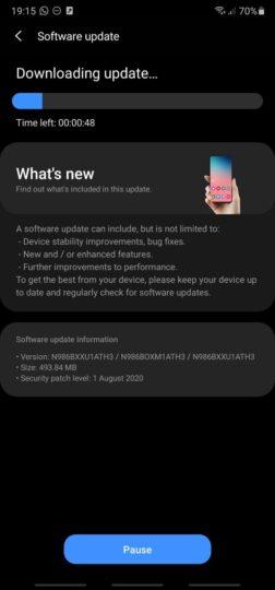 Galaxy Note 20 software update