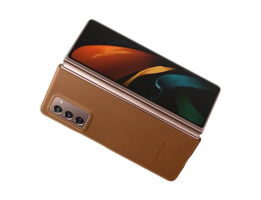 Samsung Galaxy Z Fold 2 Leather Cover Brown Open