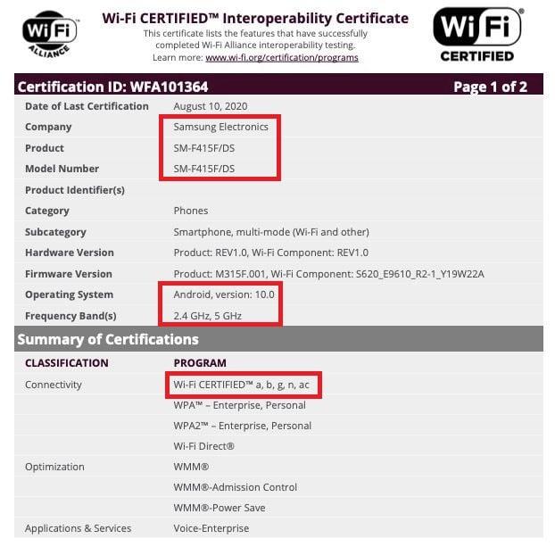 Samsung SM-F415F Foldable Smartphone Wi-Fi Certification