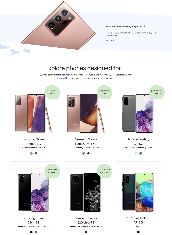 Google Fi Samsung Galaxy Smartphones