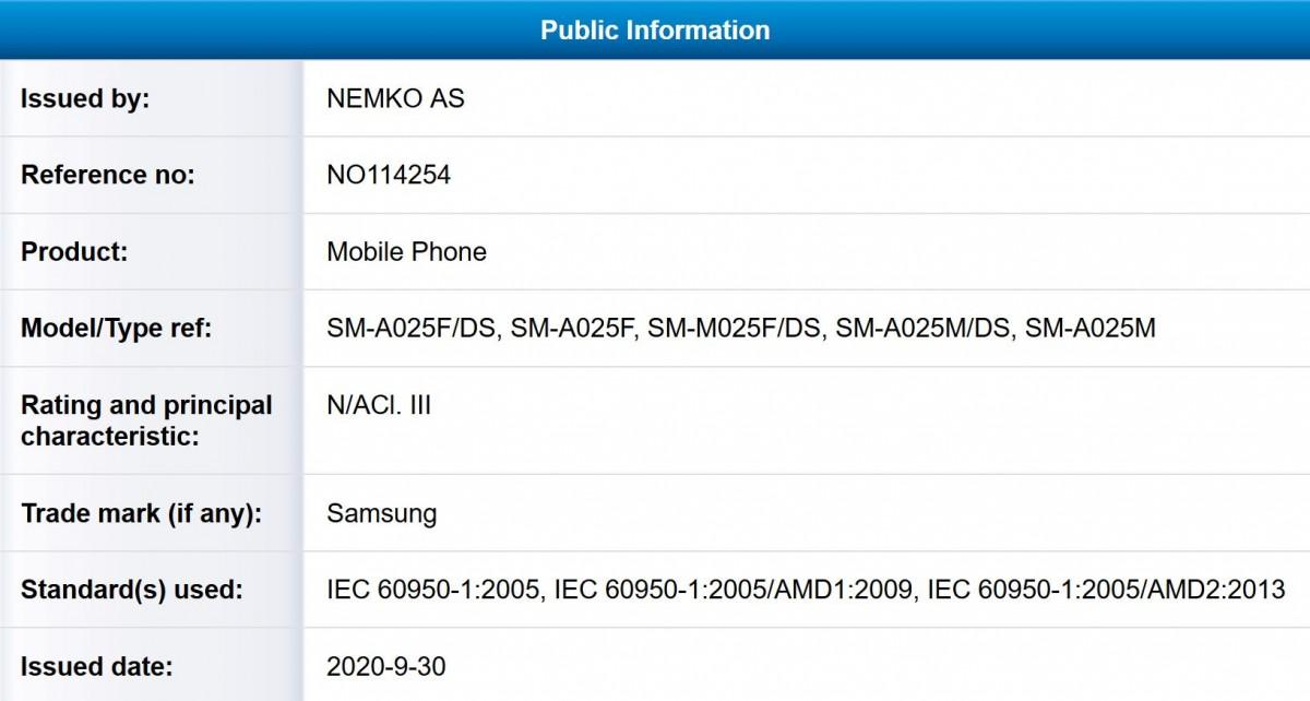 Сертификат NEMKO для Samsung Galaxy A02 M02
