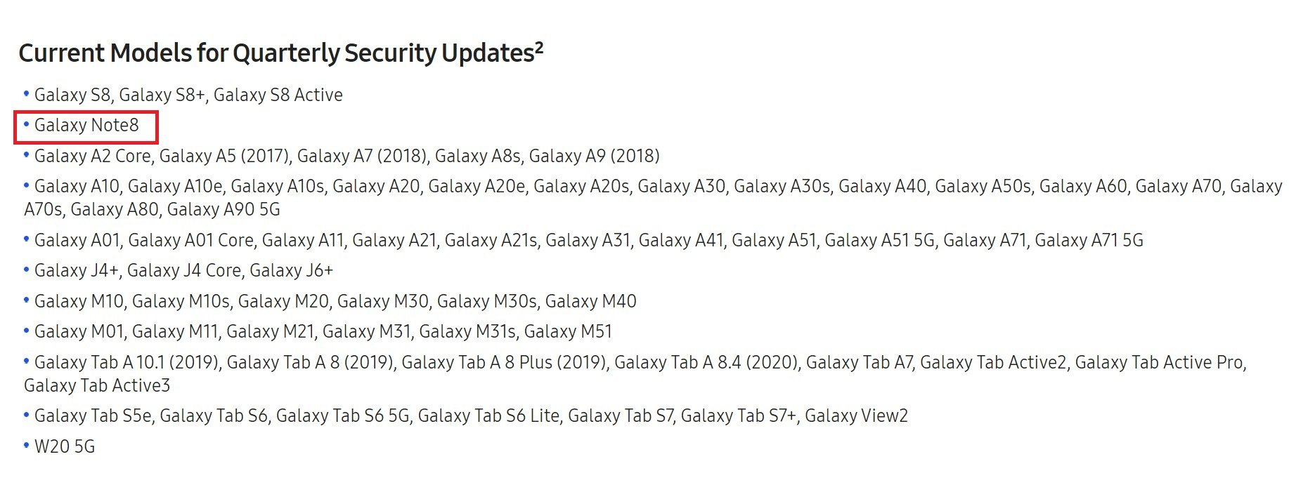 Samsung Quarterly Security Software Update List Galaxy Note 8
