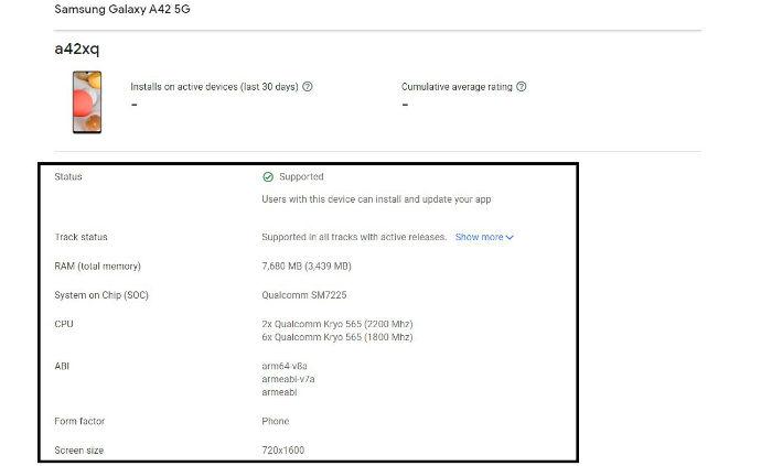 Samsung Galaxy A42 5G Google Play Listing Snapdragon 750G