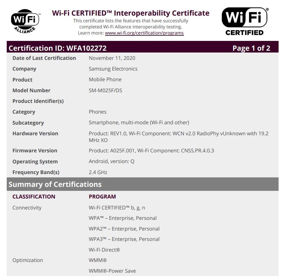 Samsung Galaxy M02 Wi-Fi Certification