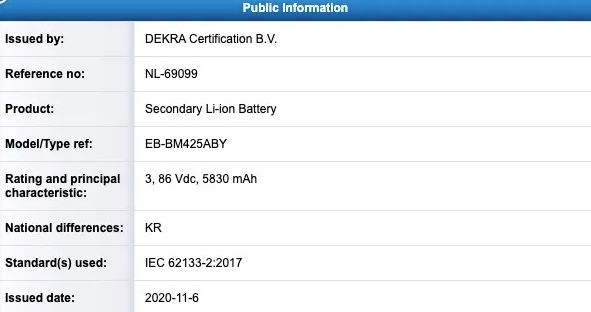 Samsung Galaxy M42 Battery DEKRA Certification