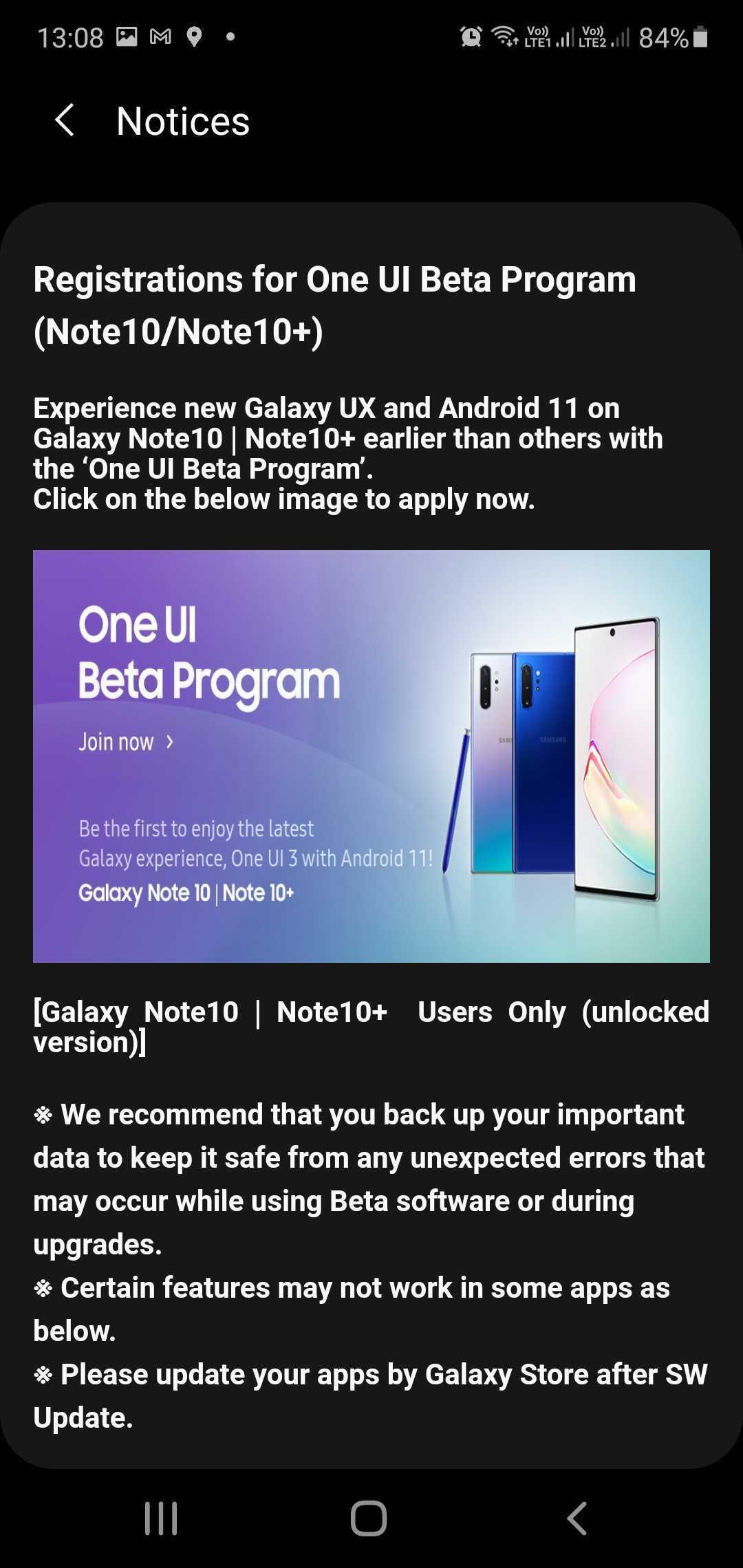 Samsung Galaxy Note 10 Plus One UI 3.0 Beta Update Registration India