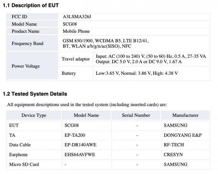 Samsung Galaxy A32 5G FCC Wi-Fi Bluetooth NFC Battery Charging