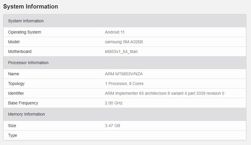 Samsung Galaxy A32 5G Geekbench