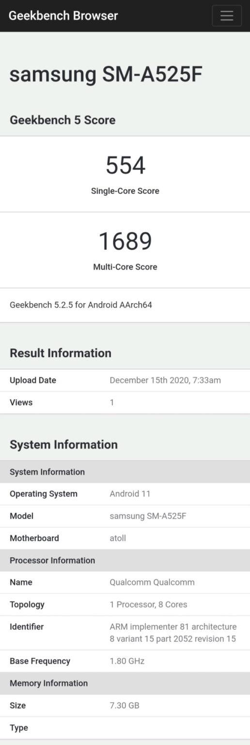 Samsung Galaxy A52 4G Processor Geekbench