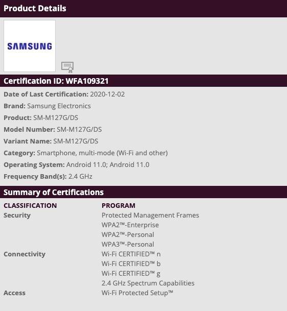 Samsung Galaxy M12 SM-M127G Wi-Fi Certification
