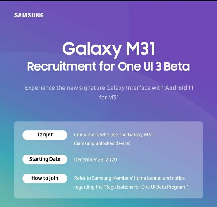 Samsung Galaxy M31 One UI 3.0 Beta Update Program