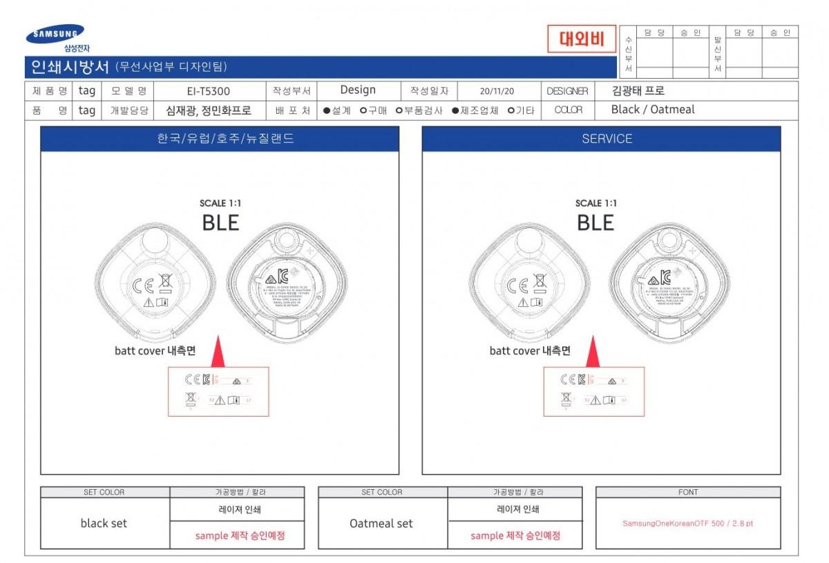 Samsung Galaxy Smart Tag Design Schematic South Korea Certification Agency
