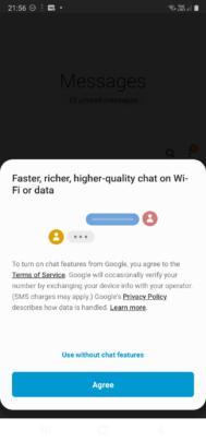 Samsung Messages RCS Prompt