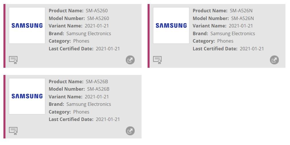 Samsung Galaxy A52 Wi-Fi Alliance Certification