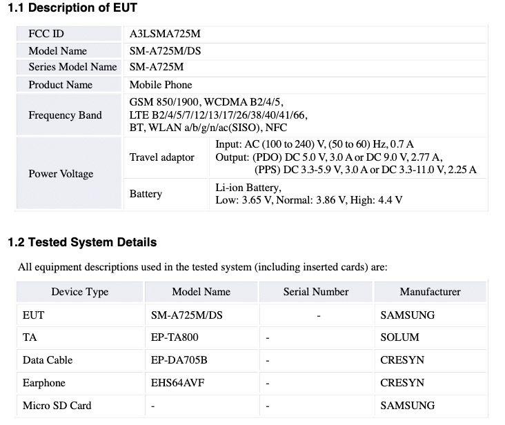 Samsung Galaxy A72 4G FCC Certification - 01