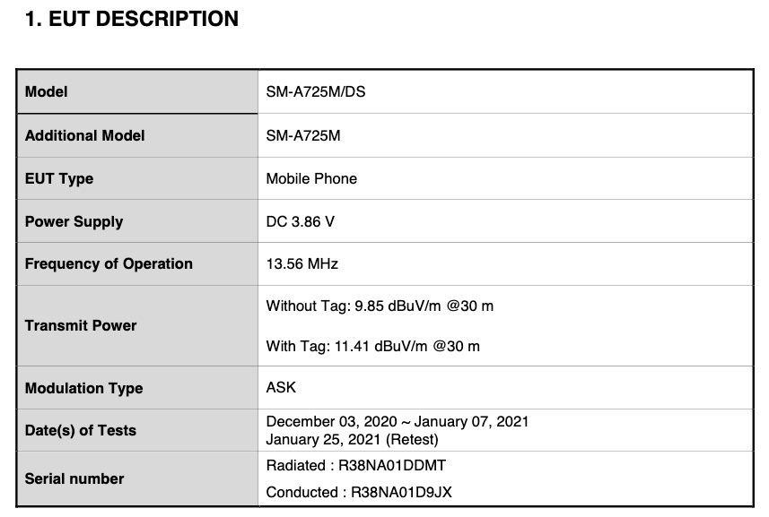 Samsung Galaxy A72 4G FCC Certification - 02