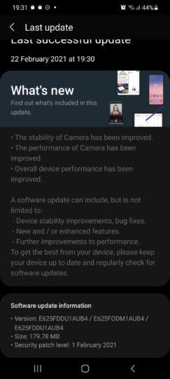 Galaxy F62 update