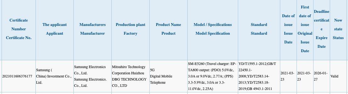 Samsung Galaxy SM-E5260 CCC Certification