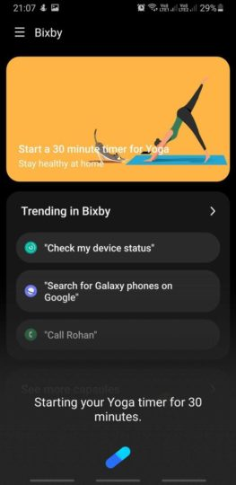 Bixby 3.0 Indian English Yoga Timer
