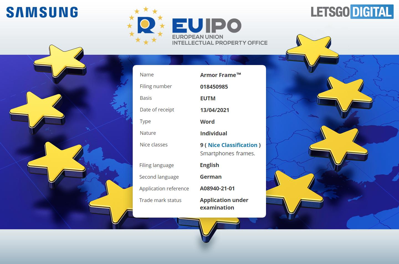 Samsung Armor Frame Patent EUIPO