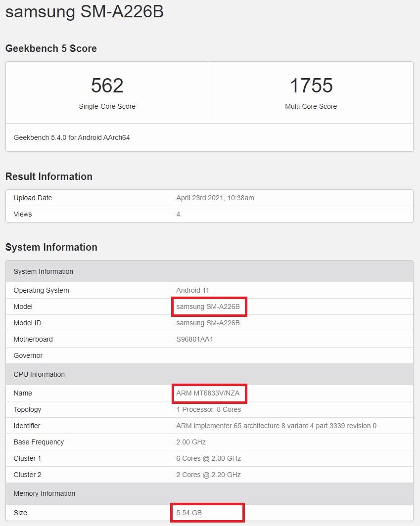 Samsung Galaxy A22 5G Processor RAM Geekbench Score