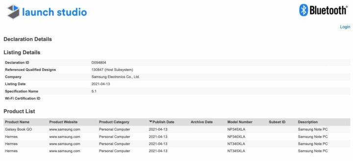 Samsung Galaxy Book Go Bluetooth Certification