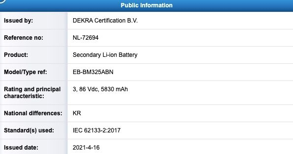 Samsung Galaxy M32 4G Battery Capacity Certification