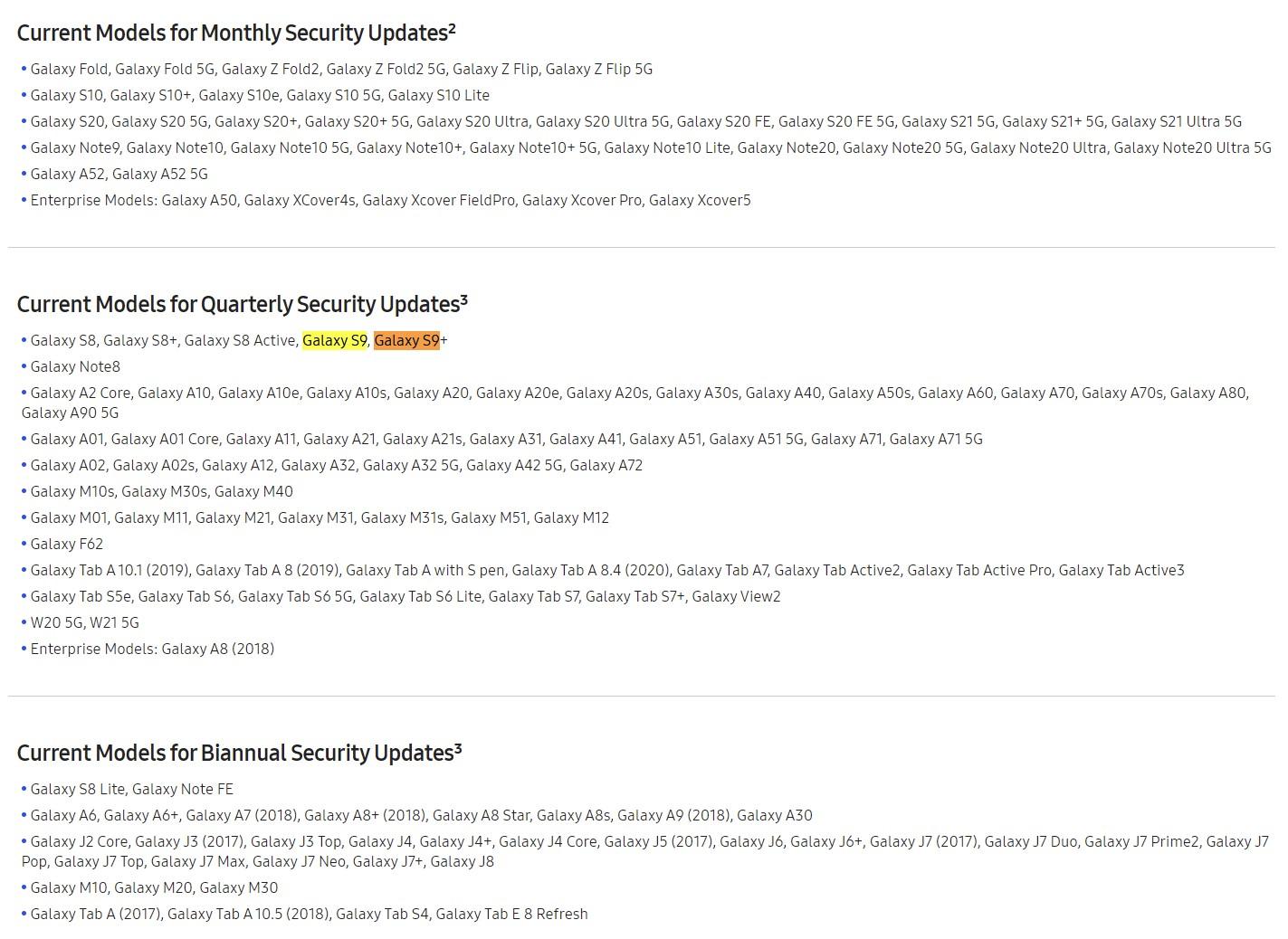 Samsung Galaxy S9 Update Schedule