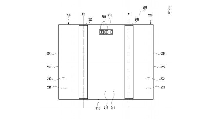 Samsung Galaxy Z Fold Tab Patent Fully Opened Rear Dual-Camera Setup