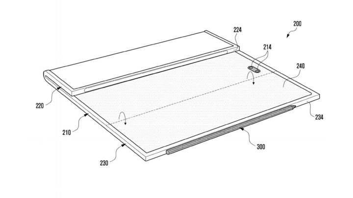 Samsung Galaxy Z Fold Tab Patent One Screen Folded Outside