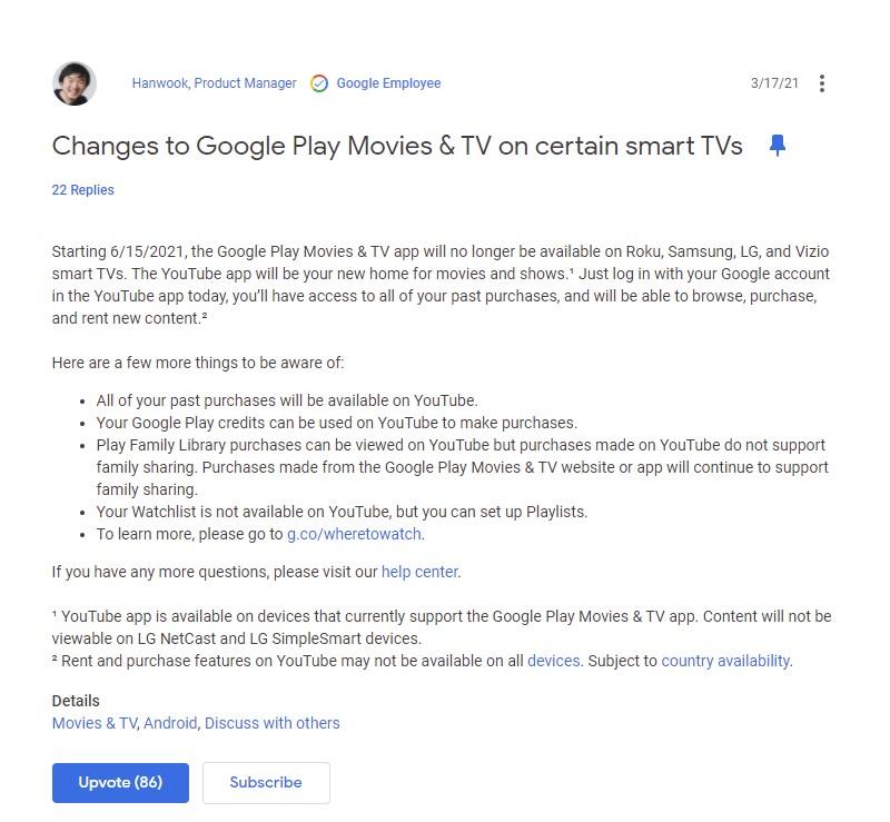 Samsung Tizen Smart TV Google Play Movies & TV App Shutting Down Announcement